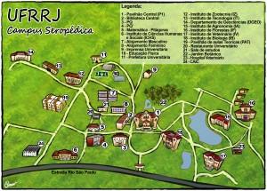 Mapa da UFRRJ - Campus Seropédica Fonte: http://r1.ufrrj.br/petsi/sudestepetrj2014/wp-content/uploads/2014/03/Mapa-copy.jpg